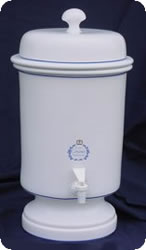 White ceramic gravity water filter with Doulton ceramic candle