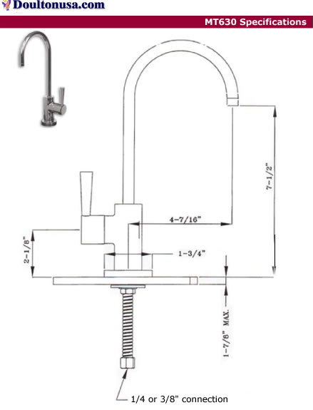 Water filter faucet MT630 specs