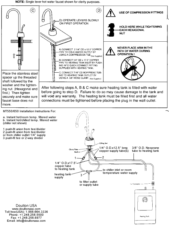 MT550/650 instant hot installation instructions