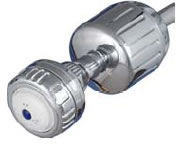 High output shower filter with head in chrome